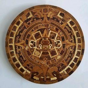 Aztec Calendar Central American Wood Wall Art